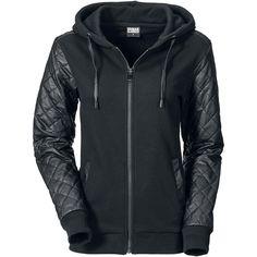 "Urban Classics Kapuzenjacke, Frauen ""Ladies Diamond Leather Imitation Sleeve Zip Hoody"" schwarz • EMP"