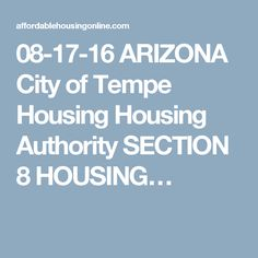 Arizona city of tempe housing housing authority section 8 housing