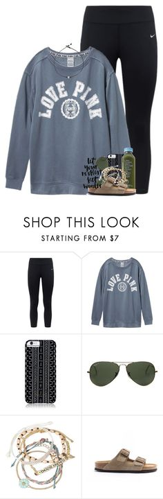 """""""heading home from PC beach """" by preppymilitarybrat ❤ liked on Polyvore featuring NIKE, Victoria's Secret, Savannah Hayes, Ray-Ban, Decree and Birkenstock"""