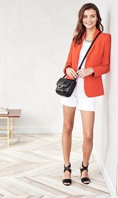 Shorts for work? Absolutely, when you add a blazer, chic heels and a polished top. So feminine and polished, these go straight from the workplace to that dinner place around the corner | Banana Republic