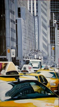 Yellow cab , acrlylic on canvas New York Taxi, Times Square, Canvas, Yellow, Art, Life, Tela, Canvases, Burlap