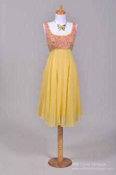 1960's Encrusted Yellow Silk Chiffon Vintage Party Dress