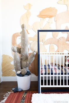 Baby Boy Nursery-House Frame Crib and Giant Stuffed Cactus