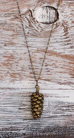 rustic pine cone pendant long necklace nature. #accessories.