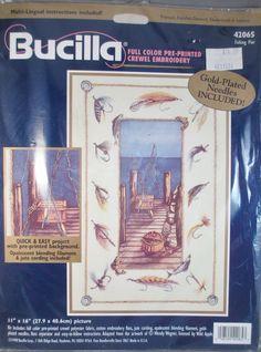 Bucilla Crewel Embroidery Kit 42065 Fishing Pier Wendy Wegner Printed Opalescent #Bucilla