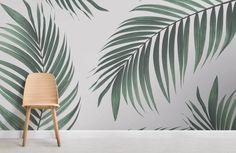 tropical-palm-wall-mural-room spindle 36 pond per Coastal Bedrooms, Coastal Living Rooms, Coastal Cottage, Coastal Style, Coastal Decor, Tropical Bedrooms, Coastal Curtains, Coastal Farmhouse, Modern Coastal