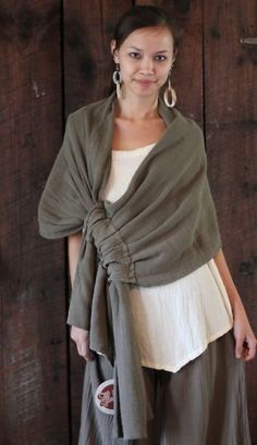 GAUZE Cotton Lagenlook Wrap Shawl drawn throw like rings of a curtain