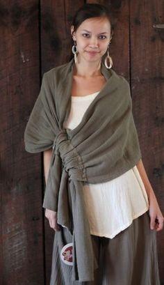 GAUZE Cotton Lagenlook Wrap Shawl drawn throw like rings of a curtain