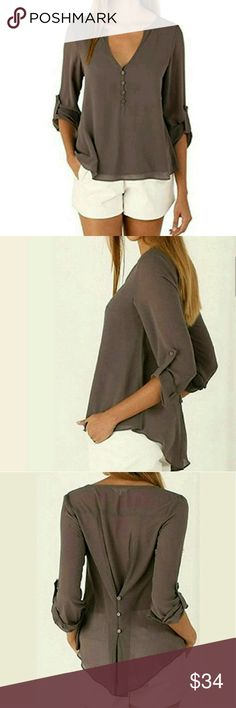 Chiffon V-neck Long Sleeve Top Chiffon V-neck Long Sleeve Top with the option to roll the sleeves and button to hold them up. Color: Coffee. Soft and Comfortable, Double Layer Front and Semi-Sheer on the back. Colors may vary from lighter to darker.   This is NWOT Retail Price Firm Unless Bundled. Measurements Available Upon Request. Tops Button Down Shirts