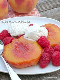 Vanilla Bean Roasted Peaches | alidaskitchen.com #SundaySupper #GalloFamily