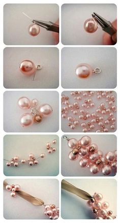 make the middle pink flower for the charm pearl bracelet - DiyForYou Bead Jewellery, Hair Jewelry, Pearl Jewelry, Jewelery, Fashion Jewelry, Pearl Necklaces, Jewellery Making, Bridal Statement Necklaces, Antler Jewelry