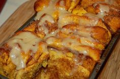 Pull apart pumpkin cinnamon bread for Thanksgiving morning.