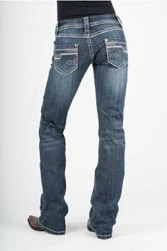 Women's Blue Jeans New Contemporary Boot Cut Jean, Sits Low On The Waist, Slim Fit Thigh And Knee With A Bootcut Leg Opening, Decorative Stitching On Back Pkts & Coin Pkt, Stetson Branded Buttons, Rivets And Zippers, Destruction & Blasting Detail,