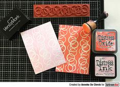 Project by Anneke De Clerck Leaf Stencil, Simple Borders, Large Stencils, Birthday Sentiments, Distress Oxide Ink, Flower Stamp, Printed Pages, Some Cards, Ink Pads