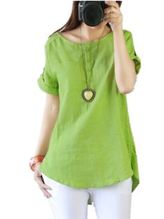Cheap shirt producers, Buy Quality shirt sleeve bands directly from China sleeve length shirt Suppliers: Plus size Women blouses 2016 summer linen shirt women tops short sleeve blouse femme o-neck button blusas mujer Plus Size Women, Blouses For Women, Casual Outfits, Cotton Linen, Linen Tops, Linen Shirts, Loose Shirts, White Light, Black White
