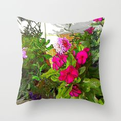 Mixed Annuals Throw Pillow by Jan4insight   Society6