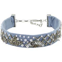 Amanda Embellished Denim Choker ($69) ❤ liked on Polyvore featuring jewelry, necklaces, denim, choker jewellery, blue choker, denim necklace, blue jewelry and blue necklace