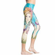Mermaid in the Ocean Women's Leggings Yoga Workout Capri Pants