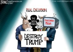 The real Trump collusion conspiracy is the DNC, RINOs, the deep state, and the mainstream media trying to destroy Trump. Cartoon by A.F. Branco ©2017