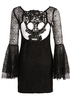 Womens Black Lace Spiderweb Look Textured Bell Sleeve Dress with Cutout Skull Back - Size Small Pretty Attitude