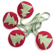 Red Christmas padded hanging baubles 4 by TheFeminineTouch on Etsy, $15.00