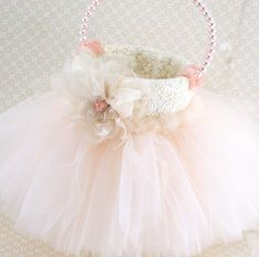 Pearl and Tutu Flower Girl Basket, Tulle Flower Girl Basket in Ivory, Cream and Pink with Lace, Pearls, Tulle and Handmade Flowers
