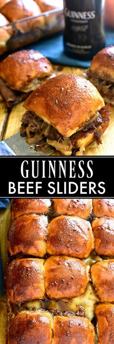 These Guinness Beef Sliders are everything you would want in a sandwich! Delicious butter rolls layered with roast beef swiss cheese mushrooms and onions then topped with a rich Guinness glaze an (Lemon Butter Steak) Irish Recipes, Beef Recipes, Cooking Recipes, Hamburger Recipes, Potato Recipes, Recipies, Pasta Recipes, Soup Recipes, Healthy Recipes