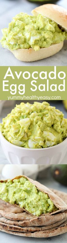 This Avocado Egg Salad is completely mayo-free and seriously tastes amazing! Imagine if guacamole and hard boiled eggs had a baby, it would be Avocado Egg Salad! This healthy recipe only takes a few minutes to whip up and is protein