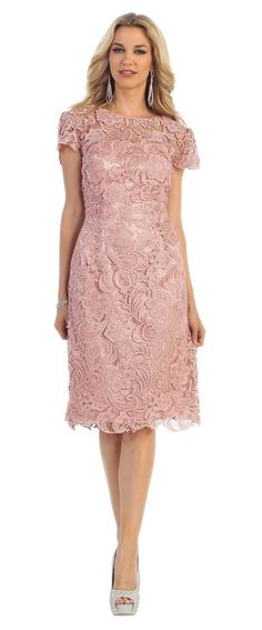 715649abf6b04 This beautiful homecoming short formal evening and mother of bride dress  features round neckline and lace