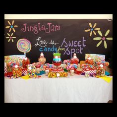 Our Candyland inspired candy buffet for Jingle Jam