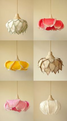 Cool closet lighting - flower lamps Beautiful Paper Lamps by Sachie Muramatsu.