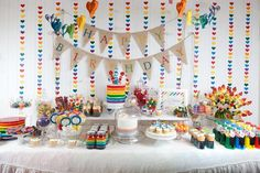 Lots of great ideas for Rainbow Party - Love that they didn't put frosting on the outside of the cake so everyone can see it even before you cut into it.  (Hostess with the Mostess® - Hannah's Rainbow Party)