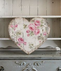 Shabby Chic Romantic Large Vintage Style French Roses Heart - Debi Coules Romantic Art