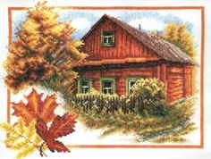 Вышивка Осень в деревне