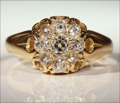 Classic Antique Victorian Diamond Cluster Ring in 18k Gold from vsterling on Ruby Lane