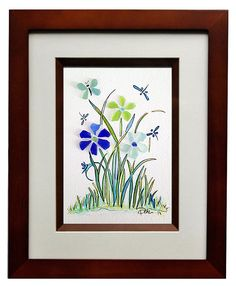 Sea Glass Butterfly Flowers and Dragonfly's by RachelDrakeStudio, $68.00