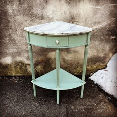 sweet little marble top corner table gets new life with #maisonblanchepaint #cremedementhe :-) lots of fun things today! Open until 6 :-) #reimagine #vintage #sweettable #newpiece #oldisnew #vintageshop #devonpa #eastcotelane