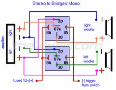 Stereo to Bridged Mono Relay Diagram
