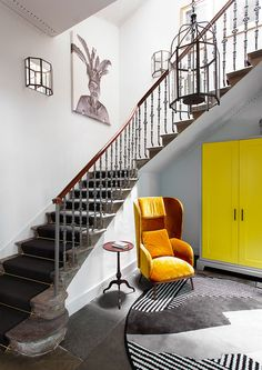 Wonderful historic townhouse in Edinburgh, Scotland #design #interior #idea #inspiration #room #style #cozy #home #decor #stairs #staircase #yellow #chair #grey #color #tone #entry #english