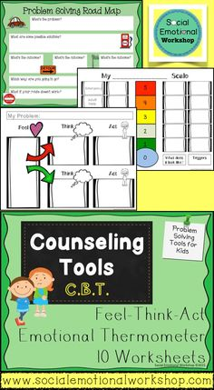 Cognitive Behavioral Therapy Tools to Use with Kids. Emotional Thermometer, Feel Think Act Maps, Problem Solving. Social Emotional Workshop