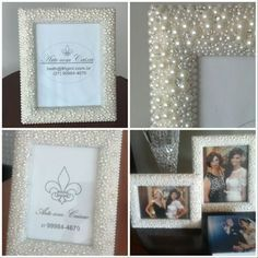 Porta Retratos!!! Pérolas e Strass!!!! Ficaram mais lindos ainda com as fotos na casa da cliente que - artecomcaixas