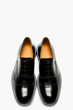 JIL SANDER Black Buff Leather Lace Up Shoes