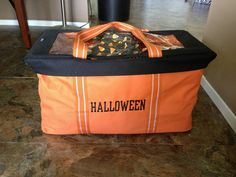 A great way to store your Halloween decorations off season...you could also get red for Christmas, purple for Easter, navy blue for 4th of July...it could go on and on! #thirtyone