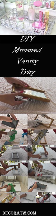 DIY Mirrored Vanity Tray Indulging in DIY projects is not only fun, it is also a great way to spend your free time. In this project, we will show you how to make a mirrored vanity tray in the shortest time possible, using cheap and easy to find materials. Mirrored Vanity, Mirror Vanity Tray, Vanity Decor, Diy Vanity, Diy Mirror, Dyi Crafts, My New Room, Organizer, Diy Art