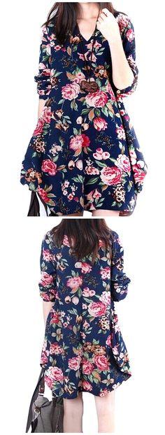 【ONLY $11.41】 Vintage Floral Printed V Neck Asymmetry Hem Long Sleeve Loose Dress| dress outfit| dresses| dresses casual|dressing|women dresses|women dresses casual| floral dresses| vintage dresses|