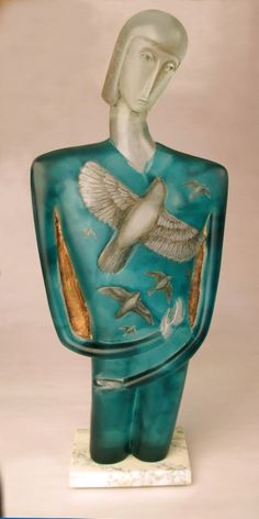 "Robin Grebe Glass Sculpture - ""And Allah has created you and what you make."" Surah Saffat, 96 ""Oysa sizi de, yapmakta olduklarınızı da Allah yaratmıştır."" Saffat Suresi, 96"