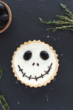 Halloween Jack Skellington Ricotta Olive Tarts - An ode to The Nightmare Before Christmas. Snixy Kitchen