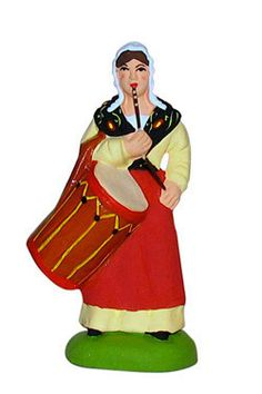 Woman with a Drum - Femme tambourinaire - Size #2 / Elite Marcel Carbonel Santons from Provence | Find at My Growing Traditions