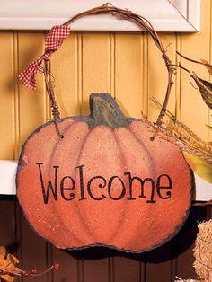 Harvest Pumpkin Slate Welcome Sign