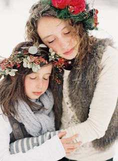 OVE elements. Wintery wonderland children's shoot. Inspired by ... evergreen~winter crowns~snow Winter Floral crowns by La Fete Floral and events. All photos courtesy of Green Apple Photography.